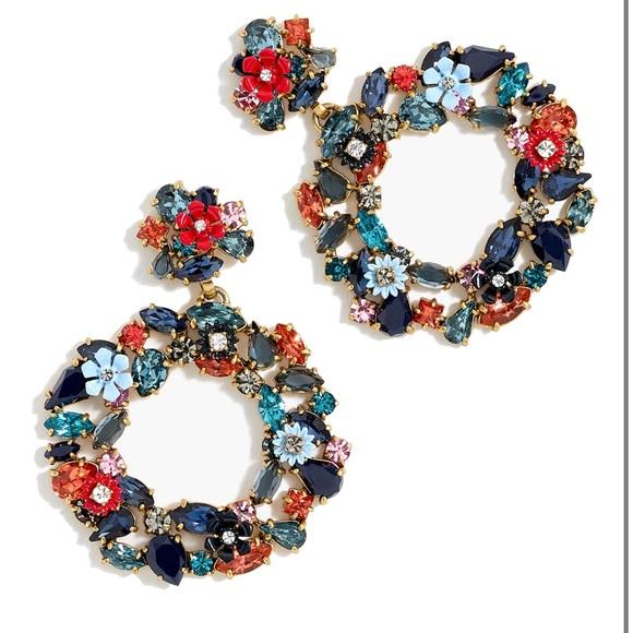 J. Crew circle floral earrings enamel drop pierced statement large fashion